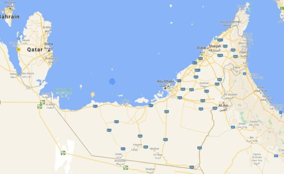 United Arab Emirates Border Countries Map
