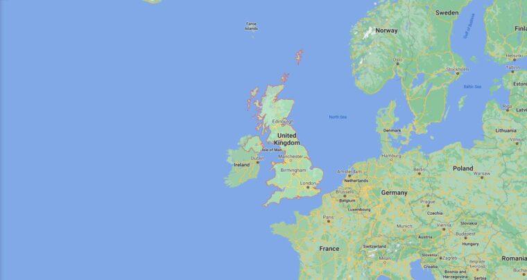United Kingdom Border Countries Map