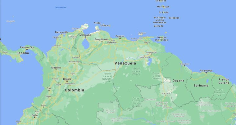 Venezuela Border Countries Map