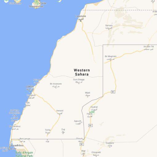 Western Sahara Border Countries Map